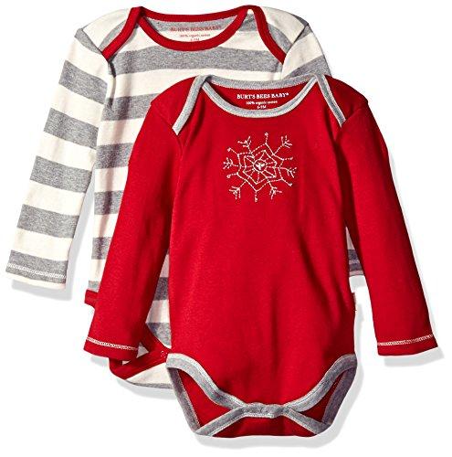 Burt's Bees Baby Set of 2 Organic Long Sleeve Bodysuits, Cranberry Beeflake, 18 Months