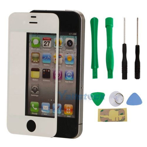 New Replacement Lcd Front Screen Glass Lens For Iphone 4 4S White + Tools