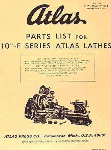 ATLAS-CRAFTSMAN 10-F Series Metal Lathe Parts Manual