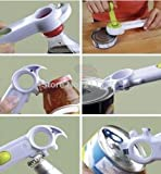 Multi-Function 7 in 1 Kitchen Cando Cooking Tools Beer Wine Tab Soda Tin Opener breaks jar seals, twists caps and opens bottles
