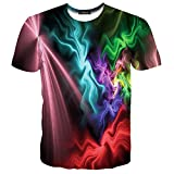 LAIDIPAS Unisex 3d Pattern Printed Color Strip Short Sleeve T-Shirts Tees XXL