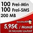 DeutschlandSIM ALL-IN 100 [SIM & Micro-SIM] - 24 Monate Vertragslaufzeit (200MB Daten Flat, 100 Frei-Minuten, 100 Frei-SMS, 5,95 Euro/Monat, 19 ct Folgeminutenpreis) Vodafone-Netz