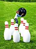 """HearthSong Giant Bowling Game, Inflatable - Classic Red, White, and Black - 29""""H"""