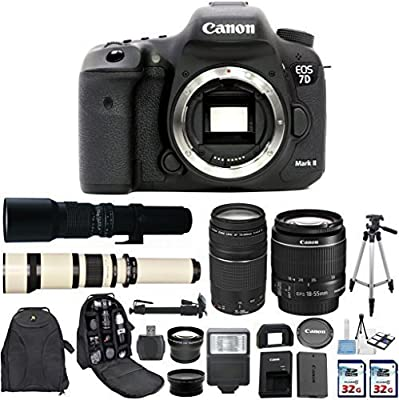 Canon EOS 7D Mark II 20.2MP CMOS Digital SLR Camera with Canon EF-S 18-55mm IS Lens + Canon 75-300mm Zoom Lens + 500mm Preset Telephoto Lens + 650-1300mm Zoom Lens + 2 pc Commander 32GB Memory Cards