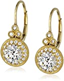 Platinum or Gold-Plated Sterling Silver Swarovski Zirconia Antique Drop Earrings (3.5 cttw)