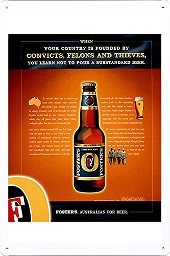 tin-sign-metal-poster-plate-8x12-of-fosters-lager-convicts-felons-and-thieves-by-food-beverage-decor