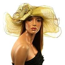 """Summer Kentucky Derby Side Flip 7"""" Brim Layer Floppy Flower Feathers Hat Mustard"""