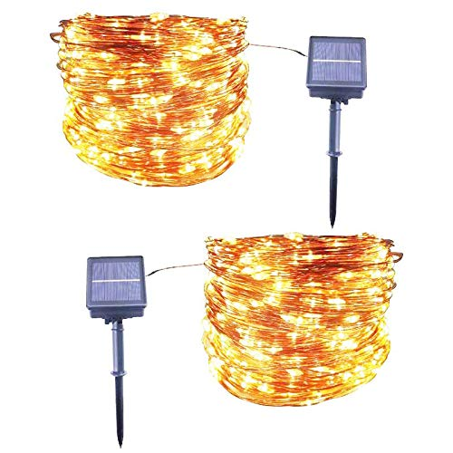 Solar String Lights, 33ft 100LED Outdoor String Lights, Copper Wire Solar Lights Waterproof Decorative Fairy Lights for Party, Patio, Garden, Gate, Yard, Lawn, Wedding, Christmas (2 Pack)
