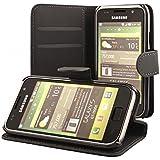 ECENCE Samsung Galaxy S GT-i9000 S Plus i9001 Cartera Funda Wallet Case Cover negro + protector de pantalla incluido 13010202