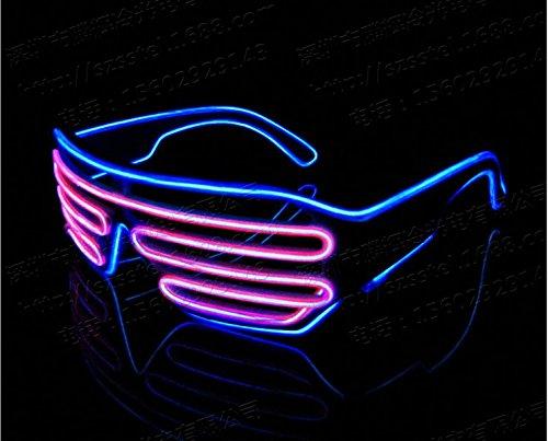 Starcrafter EL Fil Néon Lunettes de Fête LED avec Boîte de Batterie pour Décoration de Soirée, Noël, Fête, Mariage, Anniversaire, etc. (Bleu et Pink)