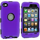 Purple Deluxe Hybrid Premium Rugged Hard Soft Case Skin Cover for iPod Touch 4th Generation 4G 4
