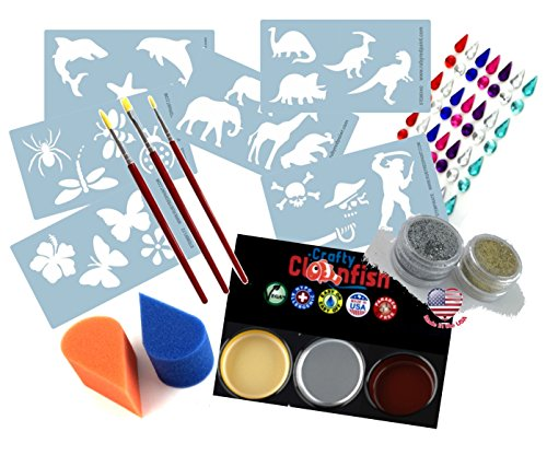 Face Paint Tool Kit & Accessories with Stencils, Brushes, Sponges, Glitter & BONUS 3 Face and Body Paints & Stick on Gems Quality Face Painting Fun for Kids & (Mexican Halloween Face Paint)