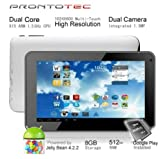 Prontotec 7 Inch HD 1024x600 Capacitive Touch Screen Tablet PC DDR 512MB, ROM 8GB,Dual Core Android 4.2.2, Dual Camera, HDMI, Standard USB Port,Wi-fi, G-sensor (White)