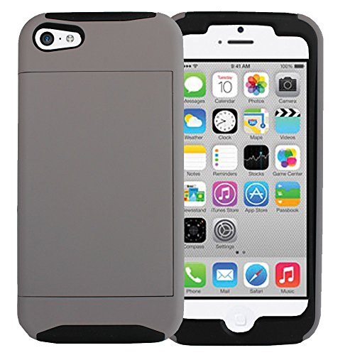Leebrae Iphone 5C Black Credit Card Holder/ Wallet Hard Rubberized Case With Silicone Core (Black & Gray) front-213313