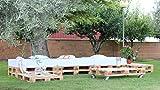 Chillout modular para jardín o terraza fabricado con Europalets de madera homologados. El conjunto está compuesto por: 10 Europalets homologados de medidas 1200 x 800 x 145 mm. 3 Colchones de espuma para palet de 1200 x 800 mm 4 Ruedas para la Mesa d...