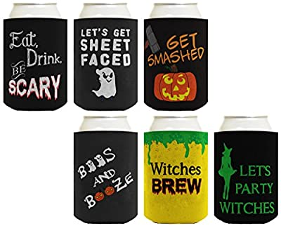 Funny Halloween Party Gift Bundle Multi Pack Can Coolie Drink Coolers Coolies