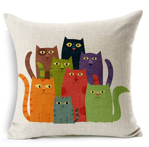 8 Pcs Cartton Cats Cotton Linen Throw Pillow Case Cushion Cover Home Sofa Decorative 18 X 18 Inch