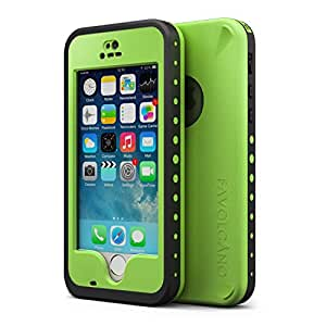 FAVOLCANO iPhone 5/5S Waterproof Case, Newset Premium Underwater Waterproof Shockproof Snowproof Dirtproof Durable Full Sealed Protection Case Cover for iPhone 5 5S with Fingerprint Identification Screen Protector (Jelly Green)