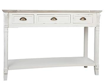 Clayre & Eef 5H0127 Sideboard Wandtisch Tisch Kommode mit 3 Schubladen weiß ca. 115 x 40 x 90 cm