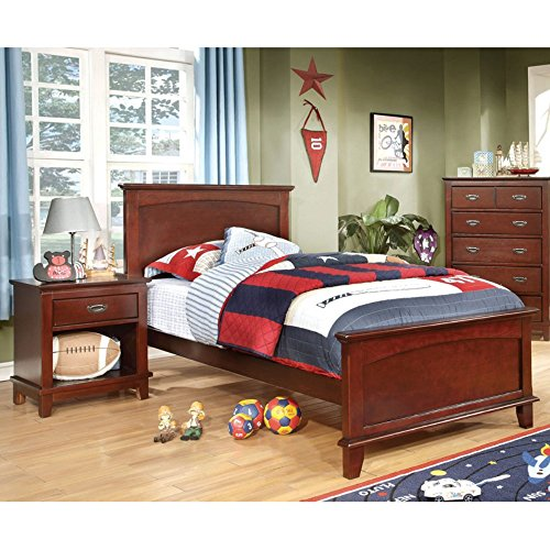 Furniture Of America Adrian Inspired 2-Piece Bedroom Collection With Nightstand - Cherry, Brown, Metal, Full/Double front-1079521