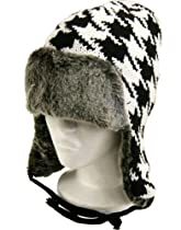 Sawtooth Aviator Fur Trapper Hat - Trooper Winter Knit Cap - Quilted Double Lined for Warmth