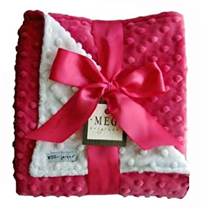 MEG Original Minky Dot Baby Girl Blanket Hot Pink/White