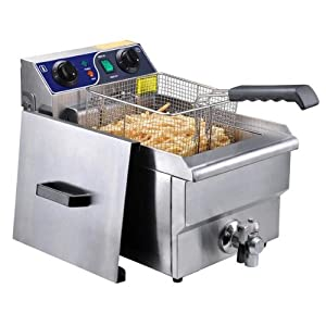 Commercial Deep Fryer: Stainless Steel Electric Counter Top Fryer with Drain (Multiple... by AV Prime Inc.