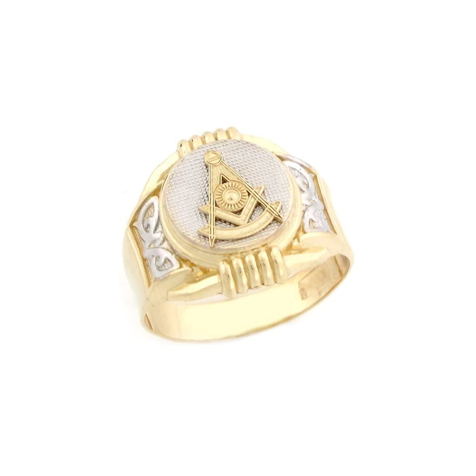 10k Two Tone Real Gold Past Master Freemason Masonic Round Mans Ring