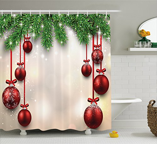 Ambesonne Christmas Decorations Collection, Xmas Inspired Winter Season Theme Fir Twigs and Vibrant Balls Decor Graphic Print, Polyester Fabric Bathroom Shower Curtain Set with Hooks, Green Red