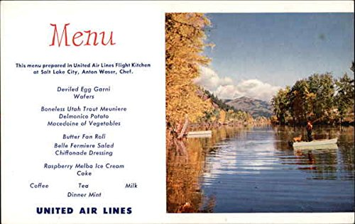 United Airlines Menu Quiet River In Northern Idaho Aircraft Original Vintage Postcard