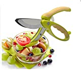 IBEET Salad Toss and Chopper Tongs / Slicer / Scissors / Shears with Stainless Steel Blades,Non-slip Grips Chopped Salad Scissors,Salad Scissors Tongs,Fruit Vegetable Scissors
