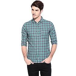 Hueman Green Full Sleeve Cotton Checked Shirt