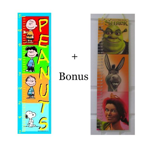 Peanuts Growth Chart to 5 Feet Snoopy Charlie Brown Lucy & Linus (Bonus Sherk Growth Chart with Stickers) - 1