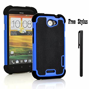 Anti-shock and Bump Dual Layer Case for AT&T HTC ONE X , HTC ONE X + LTE ONLY (ATTENTION: DOES NOT FIT HTC ONE OR HTC ONE XL OR ANY OTHER PHONES WITH A SIMILAR NAME)- Soft and Hard Case Cover Skin + Stylus Pen (Anti-Shock&Bump - Black/Blue/black)