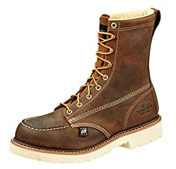 Thorogood Men\'s American Heritage 8 Inch Safety Toe Lace-up Boot, Brown, 9 D US