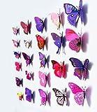 12 stickers Muraux de Papillons 3D Sticker Mural Autocollants bricolage papillon amovible Réutilisable Pour chambre Salon (violet)...