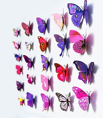 "12 St¨¹ck, Motiv ""Home"", PVC-Sticker, Schmetterling, Dekoration, 3D-Sticker Violett / Pink"