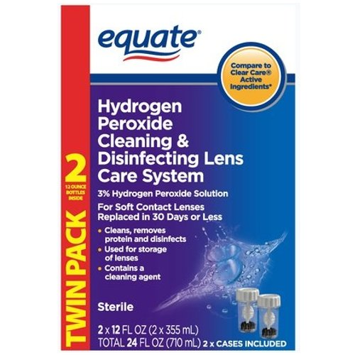 Equate Hydrogen Peroxide Cleaning & Disinfecting Lens Care System TwinPack, 2x12 Fl Oz, Compare to Clear Care (Cleaning With Hydrogen Peroxide compare prices)