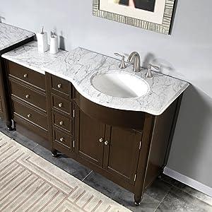 58 Bathroom Sink Vanity White Marble Top Cabinet 902wrm