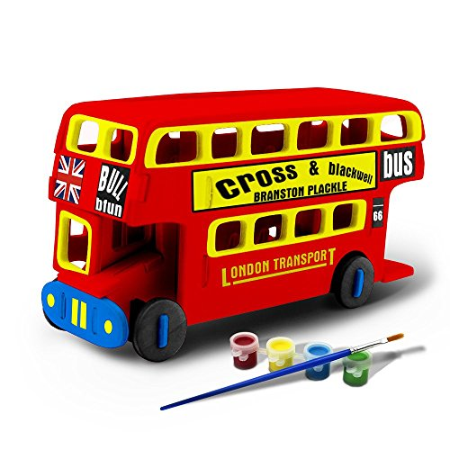Bfun Wood 3D Vehicle Puzzles London Bus 3D Woodcraft Kit Assemble Paint DIY 3D Puzzle Toys for Kids Adults the Best Birthday Gift (Wood Toy Bus compare prices)