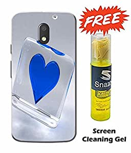 Case Cover Heart Printed Blue Hard Back Cover For Moto e3 Power Smartphone (Screen Cleaning Gel Free)