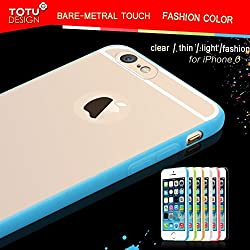 Totu Apple Iphone6 Following Case Apple After Six Borders Transparent Silicone Mobile Phone Sets (Blue transparent)