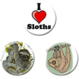 Set of 3 I Love Sloths Button Badges - Choice Of Sizes