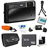 Sony DSC-TX30/B DSC-TX30 TX30 B DSCTX30 DSCTX30B 18 MP Digital Camera with 5x Optical Image Stabilized Zoom and 3.3-Inch OLED (Black) Bundle with 32GB Card, Spare Battery, Card Reader, Floating Strap, Carrying Case+ More