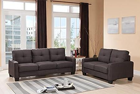 Furniture2go UFE-2408 Mirana Brown 3 Seat Sofa + Loveseat - Textured Fabric