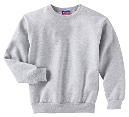 Champion Youth Long-Sleeve Spandex Crewneck T-Shirt, light steel, X-Large