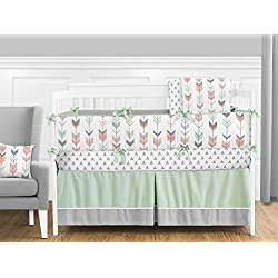 Sweet Jojo Designs Grey, Coral and Mint Woodland Arrow 9 piece Crib Bed Bedding Set with Bumper for a Newborn Baby Girl