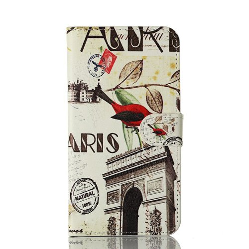 Meaci Samsung Galaxy S5 9600 Folio Case Fashion/Retro Style Postmark France Paris Eiffel Pattern With Kickstand Credit Card Holder Id Holder Pu Leather Material Cover Magnetic Buckle (Arch Of Triumph France/France Arc De Triomphe/Victory Gate)