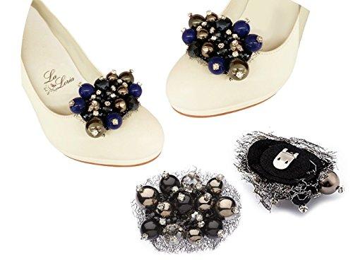 """La Loria - Donna Clip Decorative Per Scarpe """"Maniac Madame"""" Gioielli, Spille, le clip del pattino in colore blu, nero, grigio, argento - 1 Coppia"""