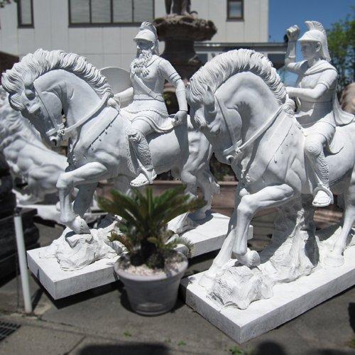 天然 大理石 彫刻 馬上騎士セット